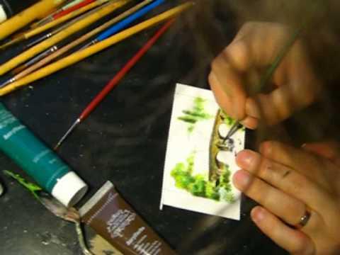 Bridge landscape acrylic miniature painting Daniel C. Chiriac fine art