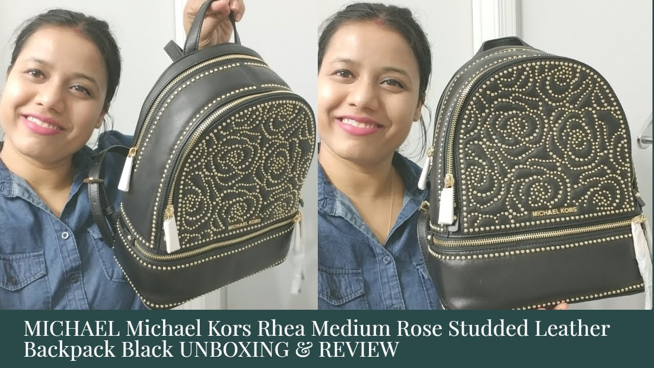 69f4a665b804 MICHAEL Michael Kors Rhea Medium Rose Studded Leather Backpack Black ...