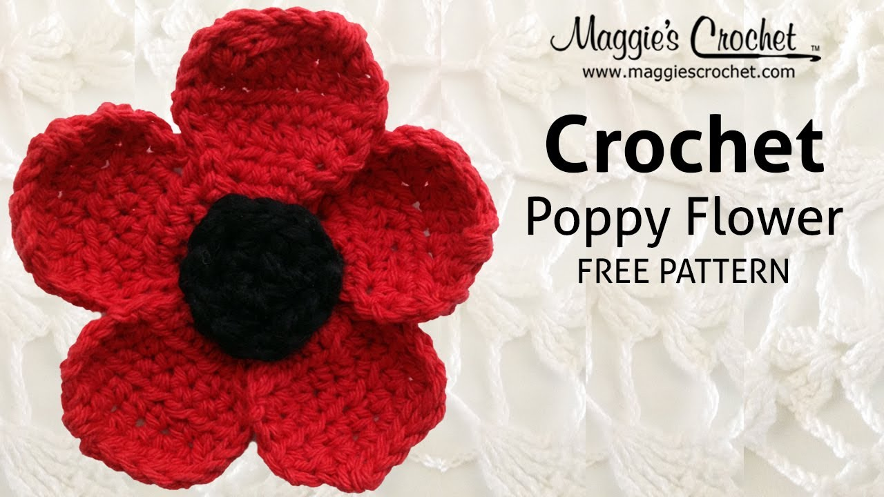 Poppy flower free crochet pattern right handed youtube bankloansurffo Image collections