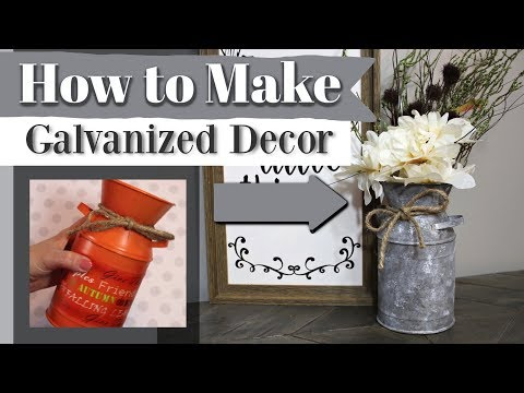 How To Make Galvanized Decor | DIY Dollar Store Farmhouse Decor | Krafts By Katelyn