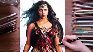 Drawing Wonder Woman (Gal Gadot) - speed drawing | drawholic