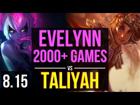 EVELYNN vs TALIYAH (JUNGLE) ~ 2000+ games, KDA 11/0/2, Legendary ~ Korea Master ~ Patch 8.15