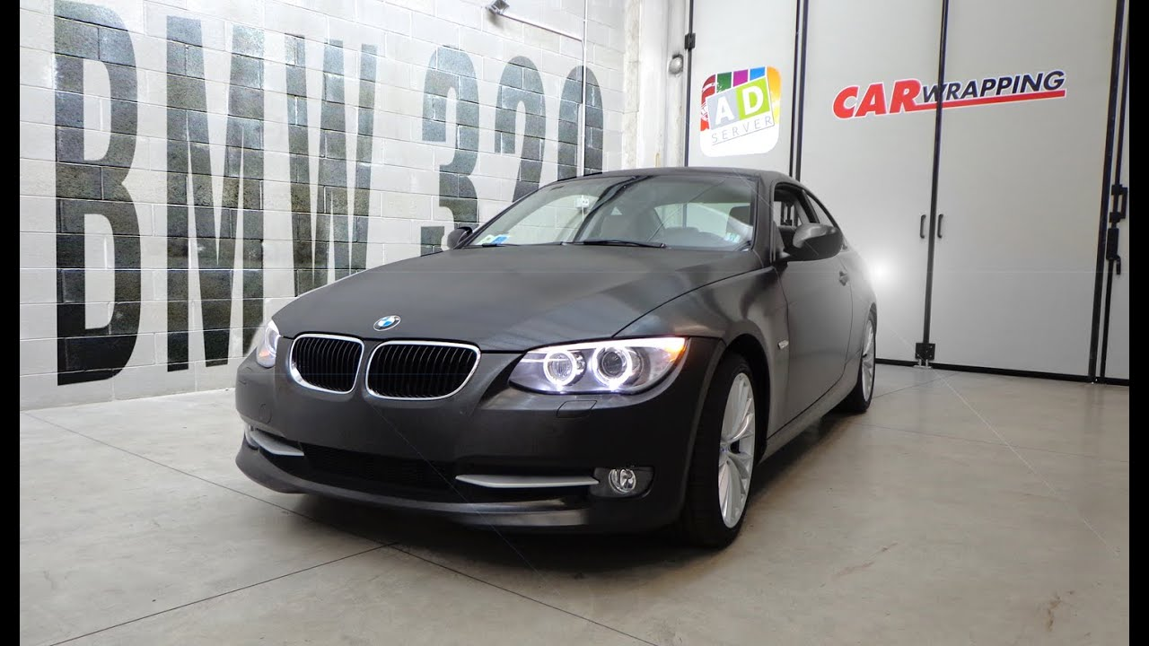 Car Wrapping Bmw 320 Coup 232 Black Brushed Metal Youtube