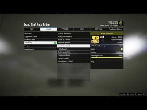 My crews and crew invites on GTA 5 Online