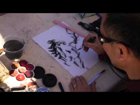 Henry's Equine Drawing Demo with Piston Water Brush Pen and Sumi Ink Cake