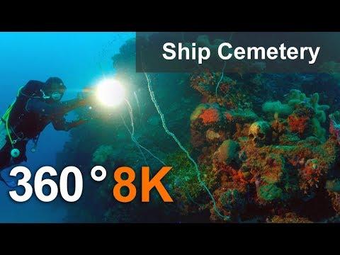 Ship Cemetery in Truk Lagoon in 360 format, Micronesia. 8K underwater video