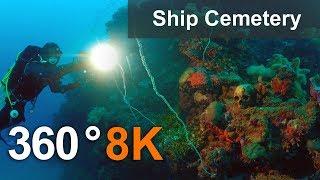 Ship Cemetery In Truk Lagoon In 360 Format Micronesia. 8K Underwater Video