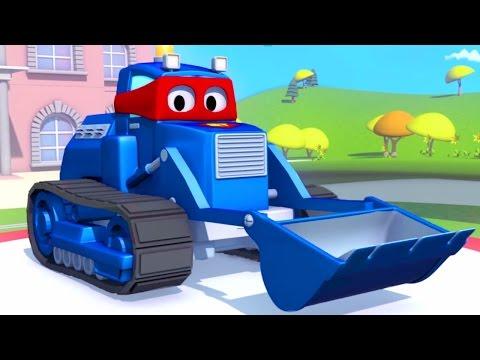 Carl o Super Caminhão e Bulldozer na Cidade do Carro |  Desenho animado para crianças
