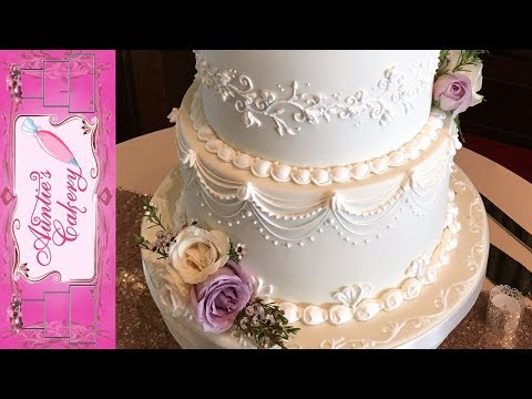 Spring Wedding Cake - Lambeth Over piping tutorial