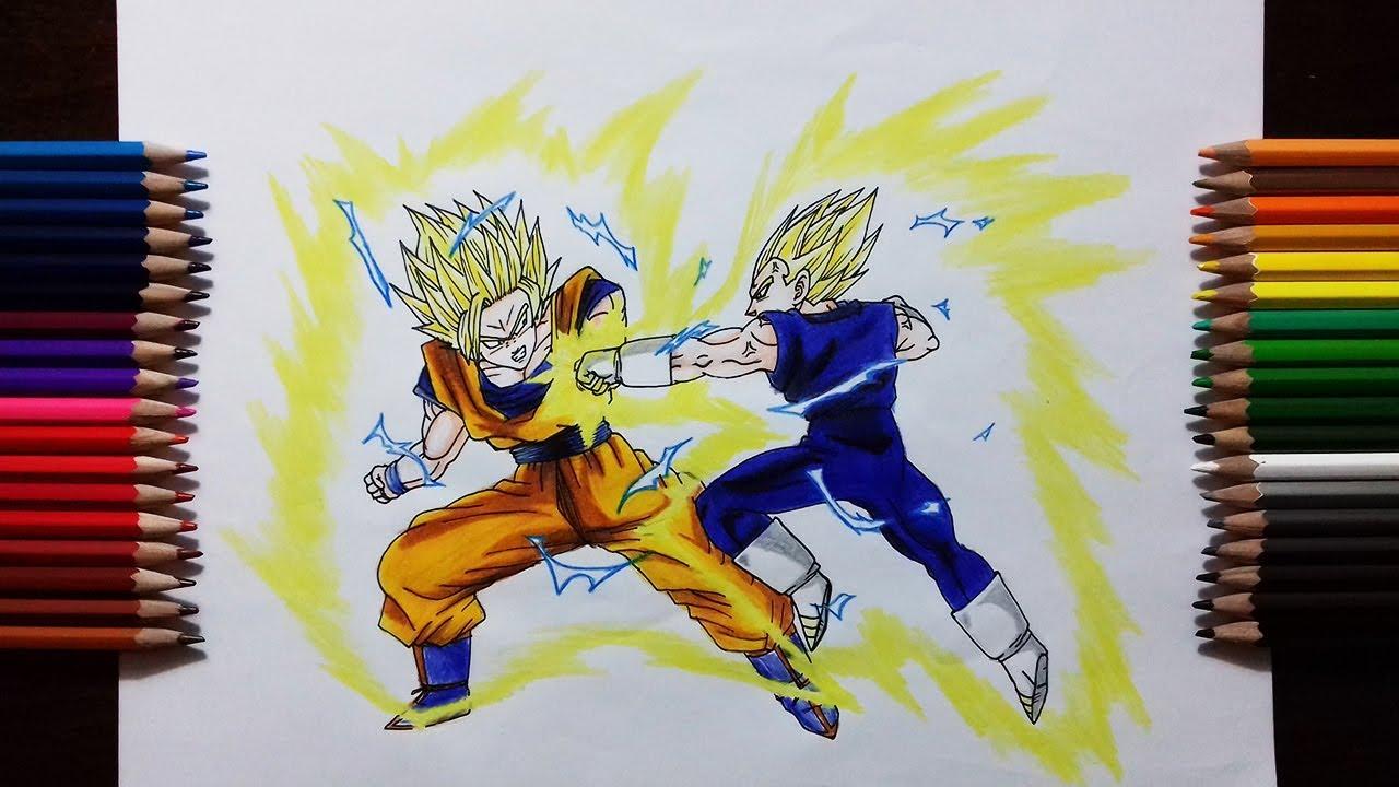 Drawing Majin Vegeta Vs Super Saiyan 2 Goku
