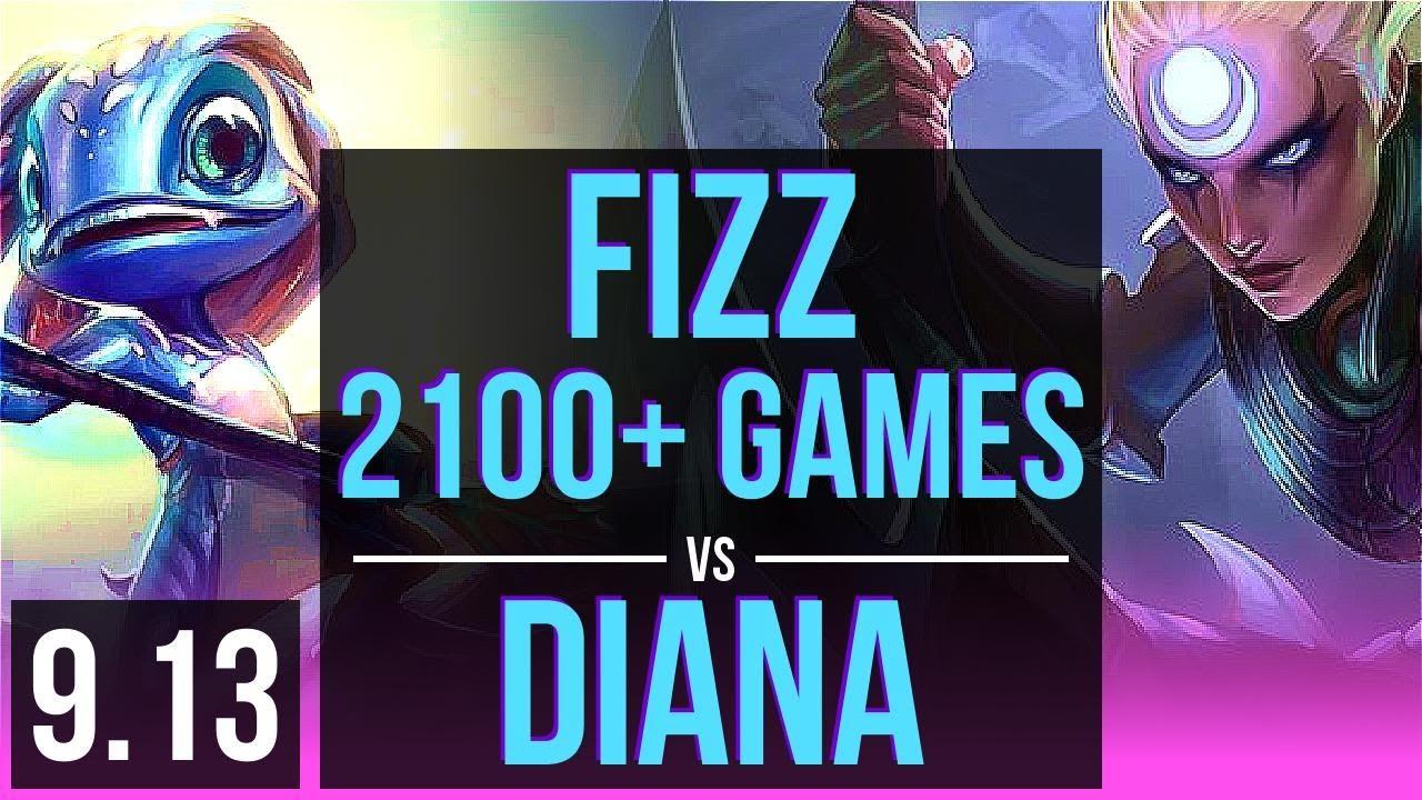 FIZZ vs DIANA (MID) | 2100+ games, KDA 23/2/3, 2 early solo kills | Korea Challenger | v9.13