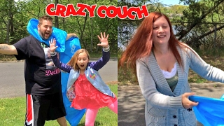 KID HOME SICK FROM SCHOOL FAMILY CRINGE CARNIVAL! INFLATABLE COUCH FAIL!