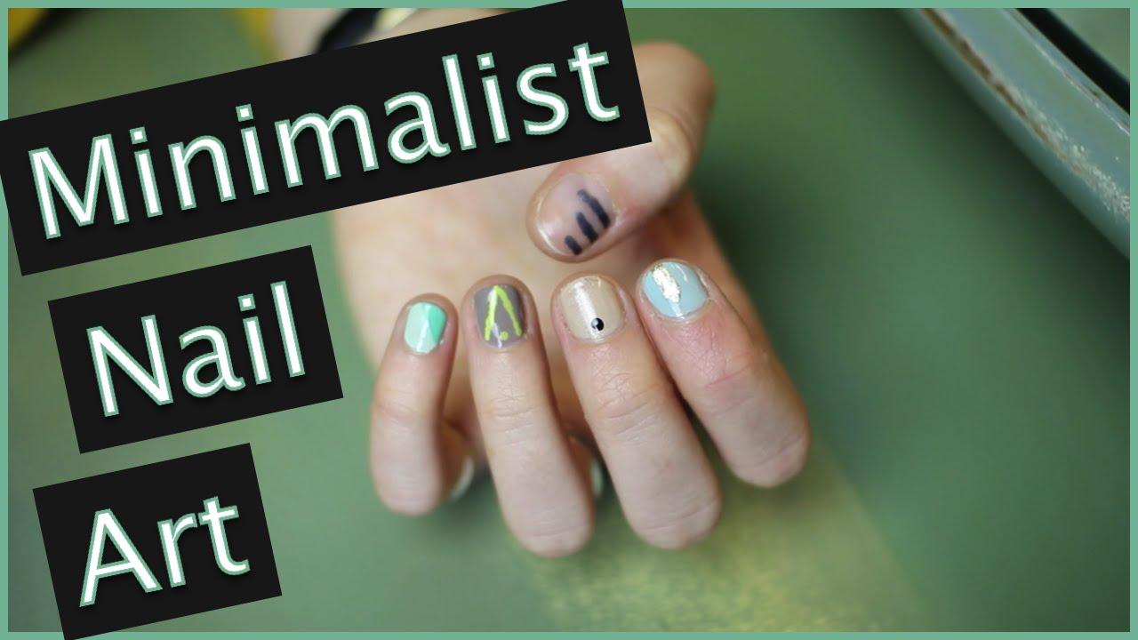 Super easy trendy minimalist nail art 5 designs youtube for Minimal art youtube