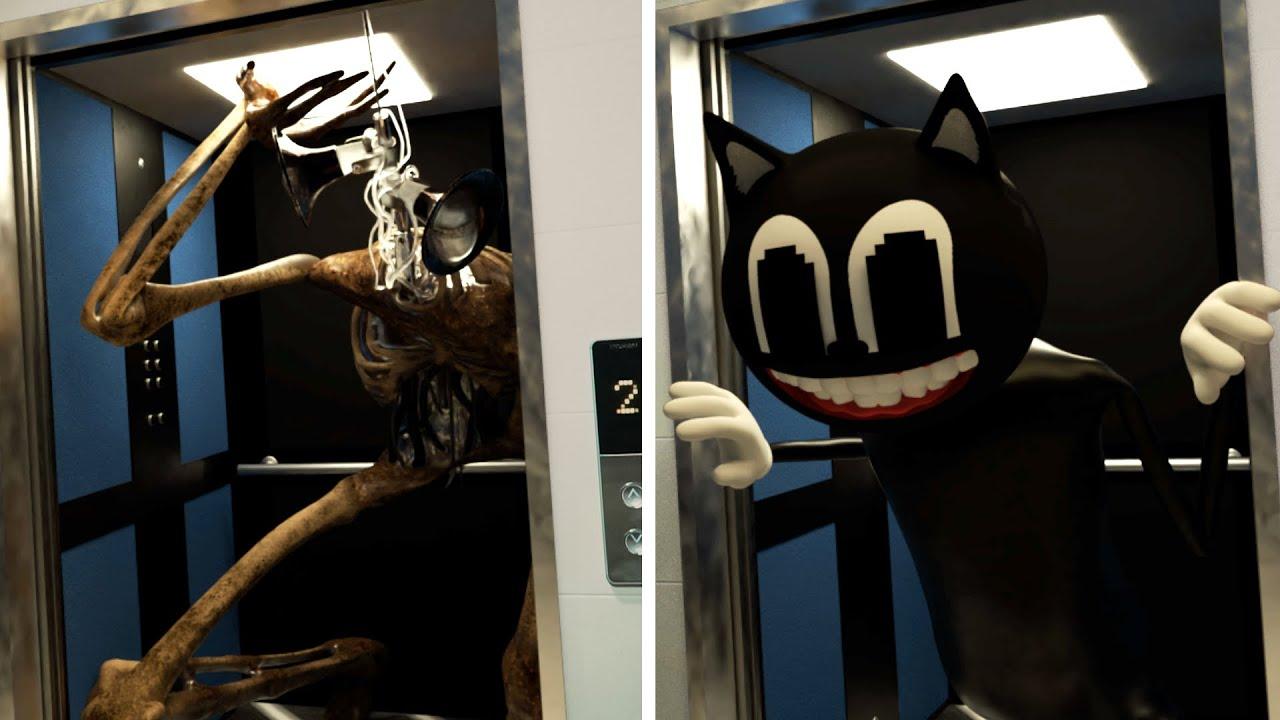 실사판/ 엘리베이터를 탈수 없는 이유! 사이렌헤드와 카툰캣 Siren Head & Cartoon Cat in Elevator Horror Short Flim