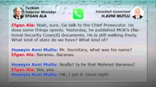 Efkan Ala tells Huseyin A. Mutlu to order a raid on a journalist's (M Baransu) house and arrest