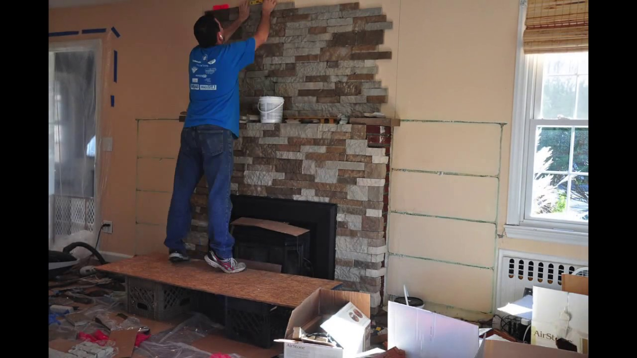 DIY Fireplace Remodel Timelapse - Airstone Installation - YouTube