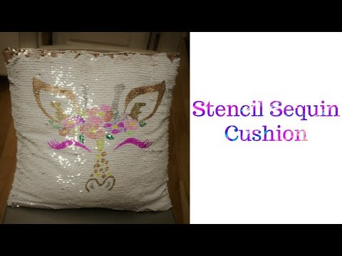 Repeat DIY Stencil 2 sided Sequin Pillows With the CRICUT by
