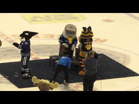 NHL Vancouver Canucks Superskills Competition 2012 Mascot Musical Chairs - FUNNY