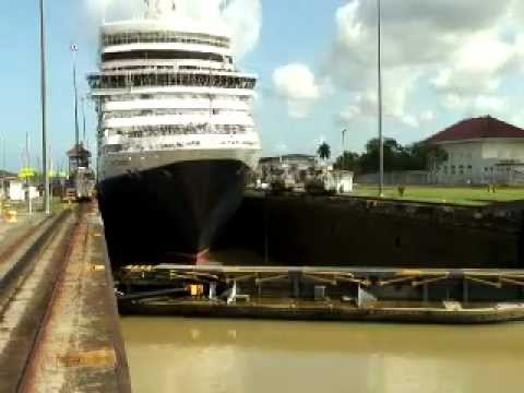 The MS Queen Elizabeth cruise ship on her inaugural Panama Canal Transit