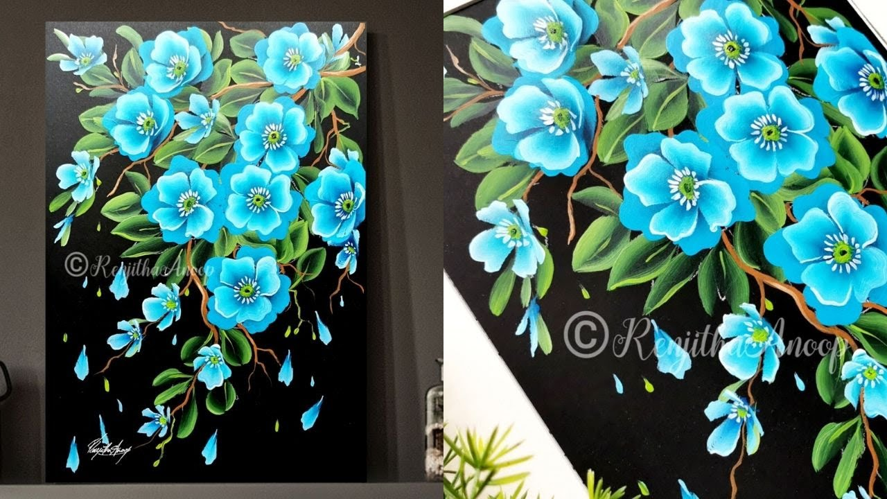 Easy Acrylic Painting For Beginners Blue Flowers Art Ideas How To Paint On Black Paper Youtube