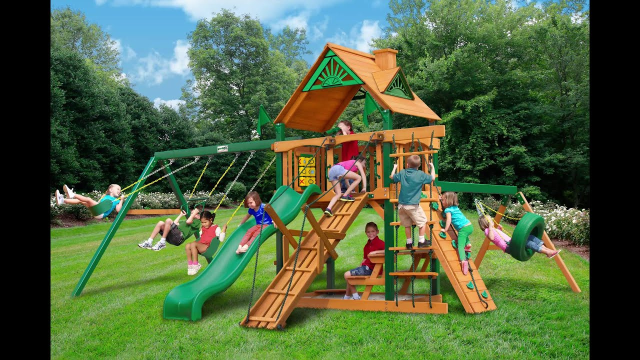 Frontier Swing Set w Timber Shield Wood Roof