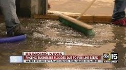Fire line break floods downtown Phoenix businesses