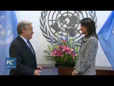 Nikki Haley presents credentials to UN Secretary General Antonio Guterres as the new U.S. Ambassador