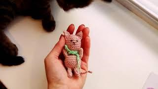 Кот полюбил вязаные игрушки. Смешной кот. Вязание крючком. Домик рукоделия Лизы