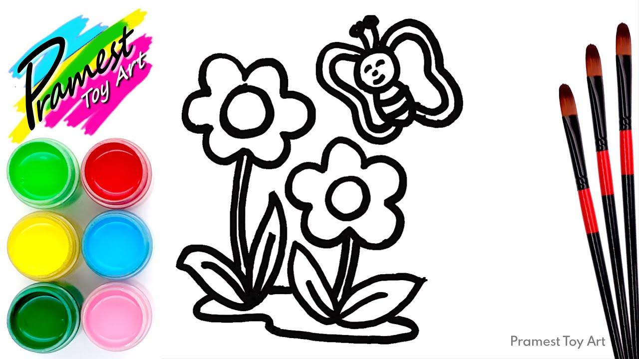 belajar menggambar dan mewarnai bunga kupu kupu untuk