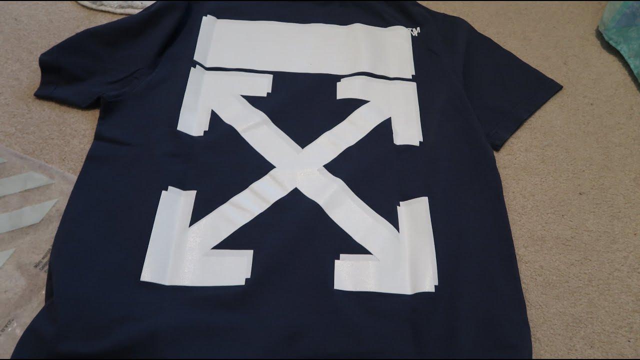 26e08ef0 Off-White x Champion Tee ( Blue & White) Pickup/Unboxing - YouTube