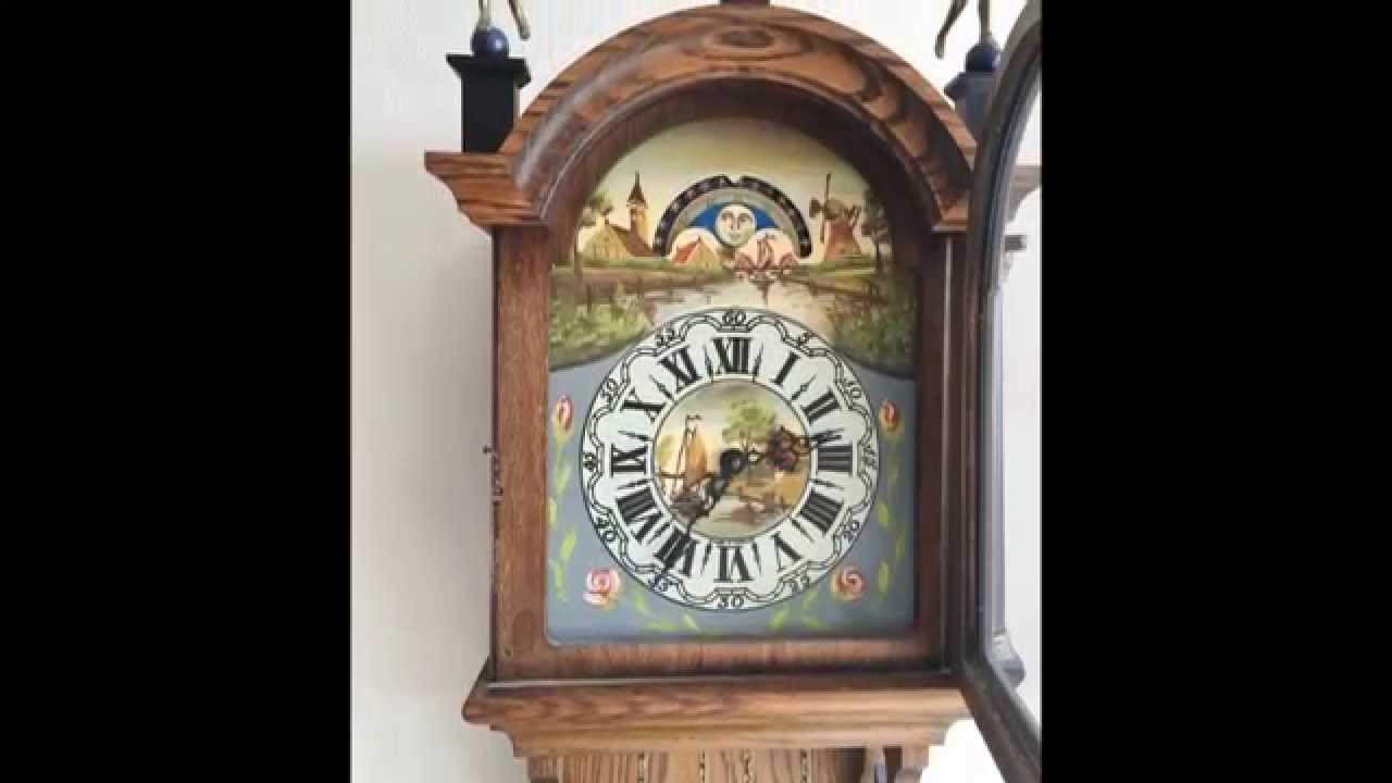 Big vintage dutch friese tailed 8 day weight driven oak wall clock big vintage dutch friese tailed 8 day weight driven oak wall clock with moon phase amipublicfo Images