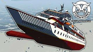 Car Ferry Gets Thrown Through the Air By a Tsunami! - Stormworks Gameplay - Sinking Ship Survival Video
