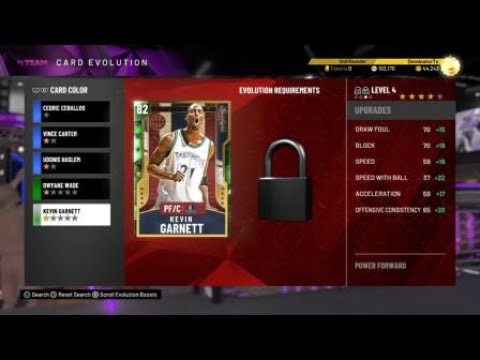 NBA 2K20 MyTeam Kevin Garnett Evolution First Game 10 pts for 80 to 82 Overall Rating
