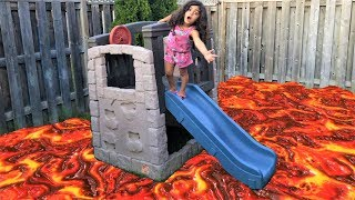 The floor is Lava challenge!! Family Fun Kids Pretend playtime
