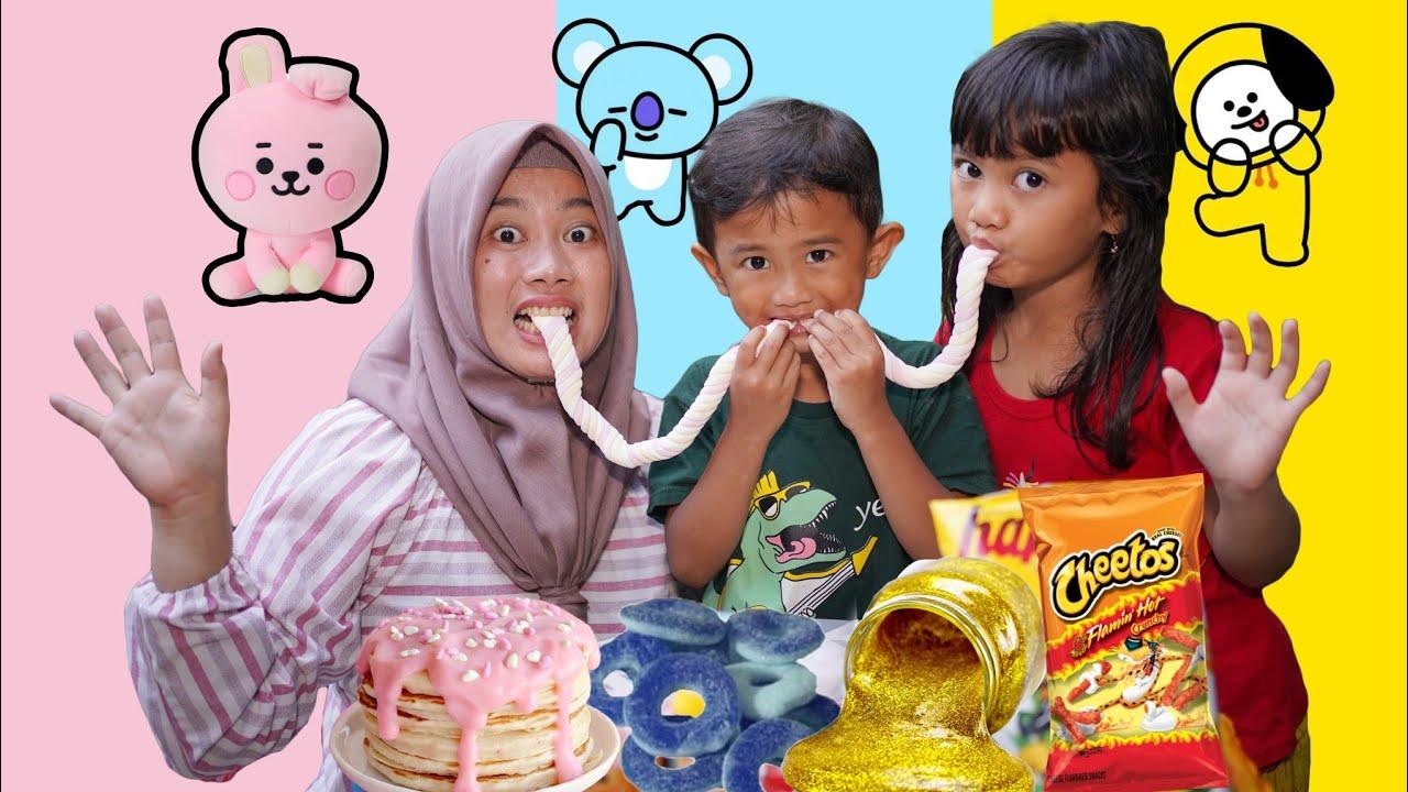 Download ALI JATUH DIALFAMART 😨 - Tantangan Jajan Makanan Sesuai BT 21 | Salsa and family