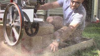 Homemade Sawmill,  bigger motor - Ripping Through Logs!
