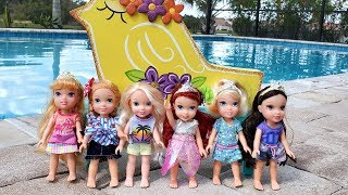 Bubble Machine ! Elsa & Anna toddlers - Ariel's Birthday party - pool - playdate - LOL toys