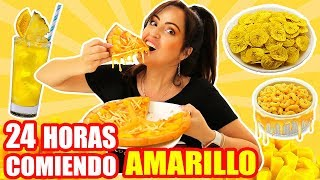 24 HORAS COMIENDO AMARILLO | RETO SandraCiresArt | All Day Eating Yellow Food Challenge
