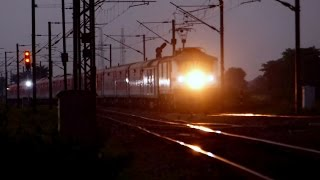 Twilight Aggressor WAP-7 Howrah Rajdhani Curves and Thunders Past Somna in Style ...!!!