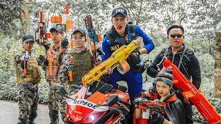 LTT Game Nerf War : Couple Winter Warriors SEAL X Nerf Guns Fight Criminal Group Rocket Bald 2