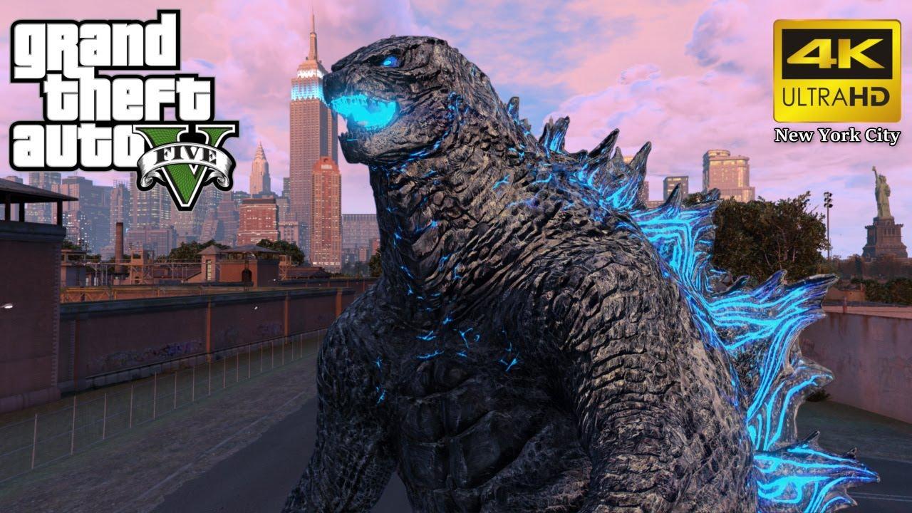 Download GTA 5 - Godzilla Arrives in New York City... (4K Ultra HD Gameplay)