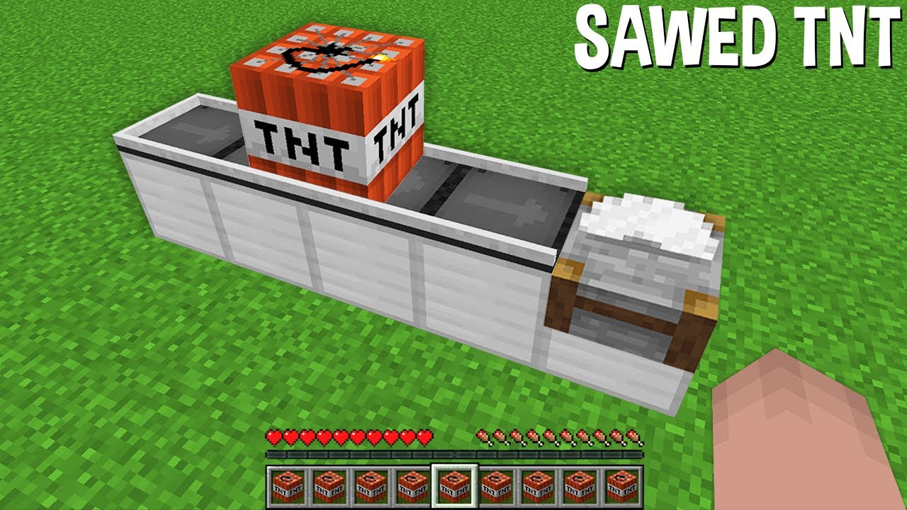 Sawed a TNT BLOCK in HALF in Minecraft !