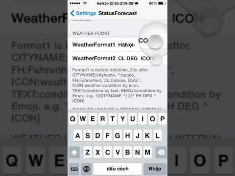 Cài đặt tên tỉnh và thời tiết trên thanh trạng thái iphone,ipad - Status Forecast