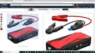 Kayak fishing fish finder battery made from portable car jump starter.