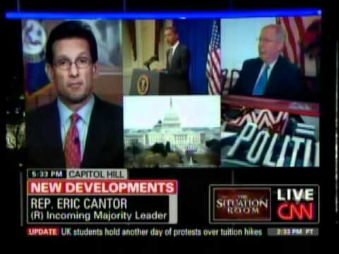 Eric Cantor Discusses Taxes, Cutting Spending & Meeting With President Obama On CNN