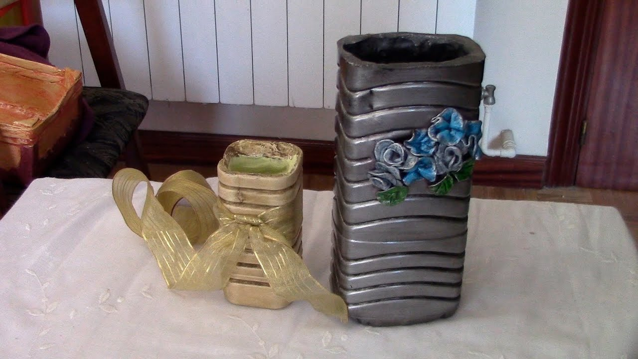 jarron florero decorativo de yeso plaster decorative flowerpot