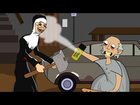 GRANNY THE HORROR GAME ANIMATION #25 : EVIL NUN Vs Scary Granny DAY 5