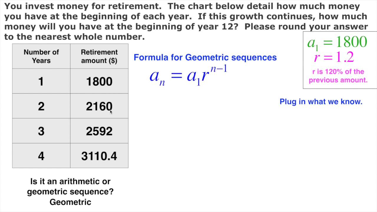 Geometric Sequence Real Life Retirement   YouTube
