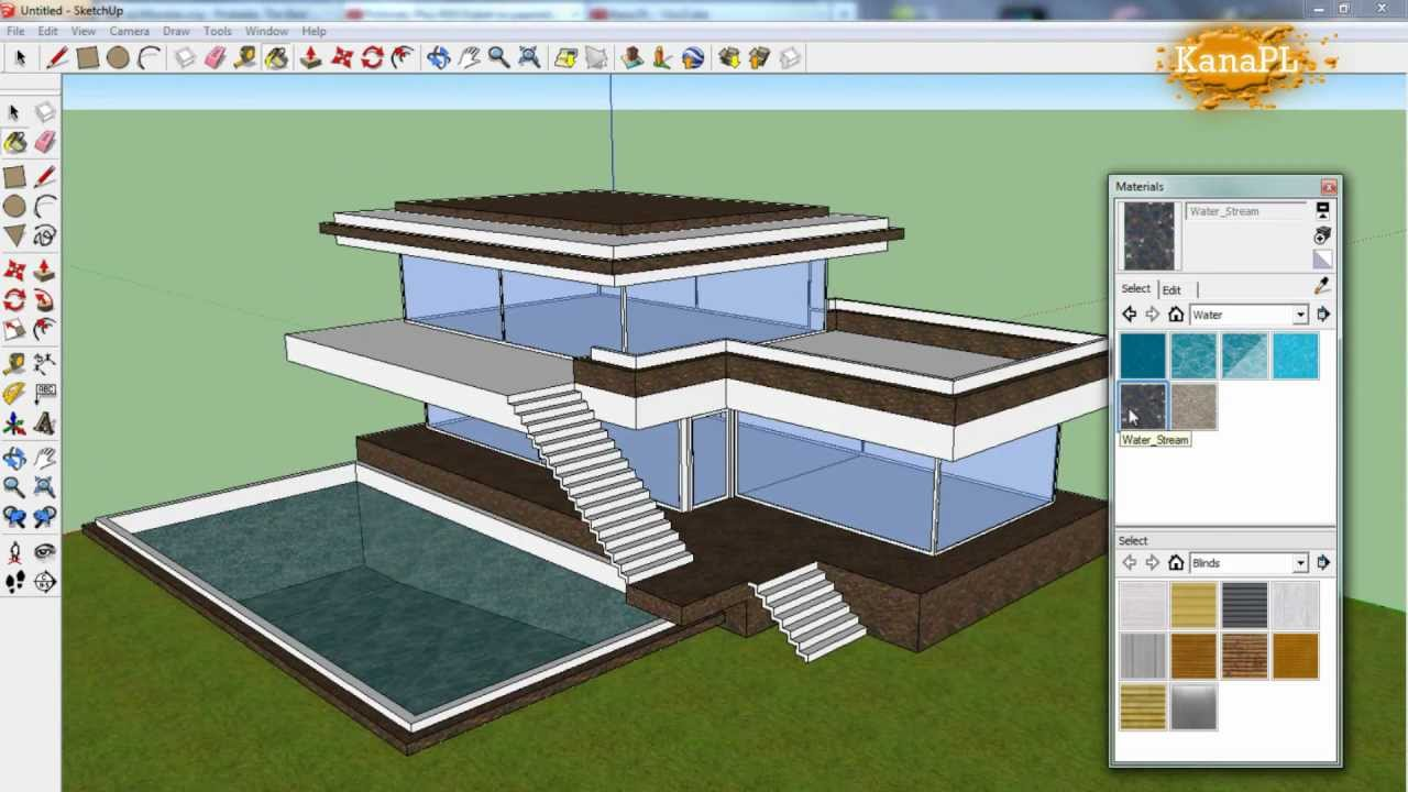 #1   Modern House Design In Free Google SketchUp 8   How To Build A Modern  House In SketchUp   YouTube