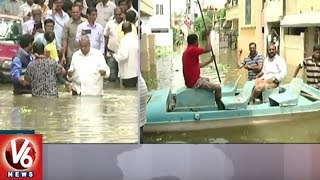 Heavy Rain Causes Floods In Hyderabad | Live Update From NMDC Colony | V6 News